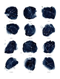 Zodiac Constellations Print Art Print