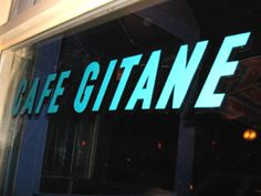 cafe gitane Glass Signage, Nyc, Neon Signs, New York City