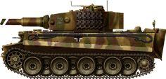 PanzerVI Tiger Ausf E, Italy 1944,Panzerkampfwagen Tiger Ausf.E Mittlere Modell (mid-production), Schwere PanzerAbteilung 508, Italy, 1944.
