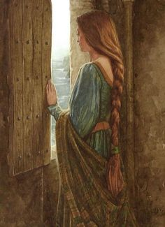 """""""The beautiful Eithlinn held captive in a tower"""" illustration for the tale of """"Moytura"""" from the book """"The Names Upon the Harp,"""" a book of Irish Myths & Legends, written by Marie Heaney & illustrated by P. (Patrick James) Lynch, a famous Irish artist. Lady In Waiting, Pre Raphaelite, Medieval Fantasy, Celtic Fantasy Art, Celtic Art, Oeuvre D'art, Painting & Drawing, Character Inspiration, Fairy Tales"""