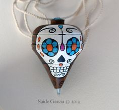 Mexican Trompo with Original Sugar Skull Day of the Dead painting by Saide Garcia © 2012, $20.00