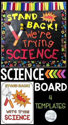 Templates for four boards with great ideas for elementary science displays and projects for cla Science Room, Mad Science, Preschool Science, Science Humor, Teaching Science, Science Education, Science Activities, Life Science, Science Art