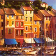 Tangletown Fine Art Portofino Waterfront by Michael Otoole Giclee Print on Gallery Wrap Canvas, 35 Framed Artwork, Wall Art, Framed Wall, Kunst Poster, Stretched Canvas Prints, Find Art, Giclee Print, Art Decor, Modern Art