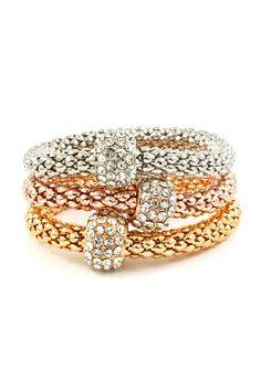 Tri Tone Crystal Alex Bracelet #jewelry #women #bracelet #fashion