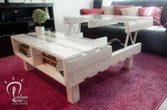 La ECO-Céntrica es nuestra mesa de centro de pallet elevable, en este caso en blanco satinado. Multifuncional, práctica y elegante.