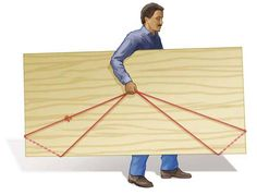 DIY Tip of the Day: Big-sheet carrier. You don't have to struggle trying to lug around full sheets of plywood or drywall. Simply tie the ends of an 18-ft. length of rope together. Then loop the rope around the two bottom corners of the sheet and hoist from the middle. https://www.facebook.com/TheFamilyHandyman?fref=photo