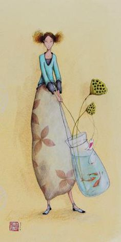 Woman Illustration, Funny Illustration, Watercolor Print, Watercolor Paintings, Illustrator, Art Carte, Magazine Collage, Mushroom Art, Arte Popular