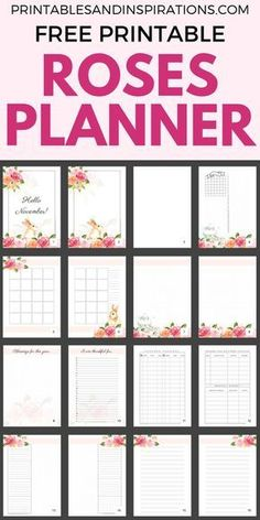 Free Printable Roses Bullet Journal Layout For November And Any Month - Roses printable planner pages with monthly spread, weekly spread, dotted paper and mor Bullet Journal Cleaning, Bullet Journal Printables, Printable Planner Pages, Bullet Journal Layout, Planner Template, Free Printables, Schedule Templates, Free Planner Pages, Calendar Printable