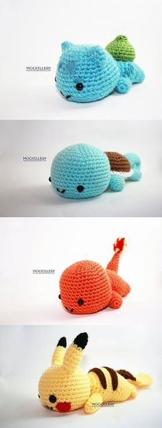 Poke Plushies! I know a little teeny girl who might need these. :)