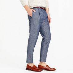 JCREWPleated trouser in Cone Denim® indigo-dyed chambray