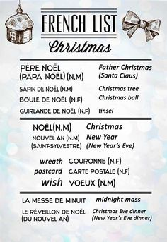 French Vocabulary List for Christmas.