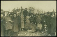 Learn about North Carolinians in World War I in this online exhibit created by the State Archives of North Carolina.  This photo shows French soldiers and civilians around statue of a German king.