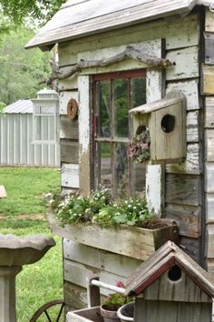 My name is Sarah and I am the author behind Flat Creek Farmhouse. My husband and I try to live a simple life while remodeling our double wide trailer into that farmhouse style that we love. When I amRead this artice Garden Whimsy, Garden Junk, Garden Yard Ideas, Garden Projects, Garden Sheds, Backyard Sheds, Rustic Gardens, Outdoor Gardens, Indoor Garden