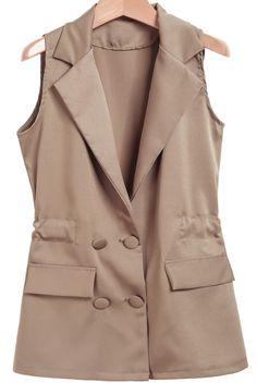 Khaki Notch Lapel Sleeveless Pockets Blazer 18.00
