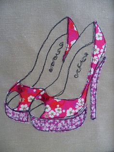 """Red and Pink """"Floral Shoes"""" Appliqued and Embroidered picture: Freehand Machine Embroidery, Free Motion Embroidery, Free Machine Embroidery, Machine Applique, Free Motion Quilting, Sewing Appliques, Applique Patterns, Applique Quilts, Applique Designs"""