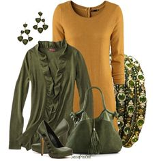 Butterscotch & Olive, created by sassafrasgal on Polyvore