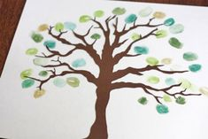 Thumbprint family tree....free download of tree...just add thumbprints in coordinating colors...write names of family members and dob/dod around each print.