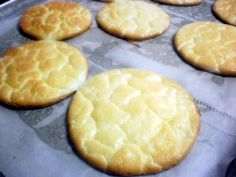 OOPSIE BREAD - 3 eggs; 3 oz cream cheese; 1/8 tsp cream of tarter. Preheat oven to 350. Line cookie sheet w/ parchment paper. Spray with cooking spray. Separate eggs. Beat egg whites and cream of tarter til stiff peaks form. Beat yolks and cold cream cheese til semi-smooth. Gently fold egg whites into yolk mixture. Mound or pipe mixture onto cookie sheet. Bake at 350 30 mins til brown.