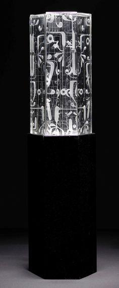 ** Vicke Lindstrand (Swedish, 1904-1983), Kosta, Engraved Glass Sculpture.
