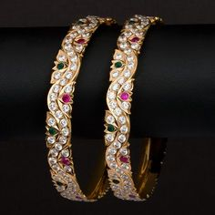 Gold Bangles latest jewelry designs - Page 7 of 30 - Indian Jewellery Designs Gold Bangles Design, Gold Earrings Designs, Gold Jewellery Design, Gold Jewelry, Designer Jewelry, Designer Wear, Jewlery, Latest Jewellery, Schmuck Design