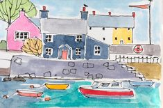 Signed Original ACEO Watercolour -Harbour Cottage - by Annabel Burton Easy Watercolor, Watercolor Sketch, Watercolor Landscape, Landscape Art, Watercolor Paintings, Pattern Sketch, House Quilts, Craft Day, Urban Sketching