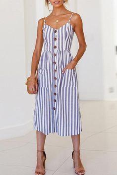 61a04753027 Hegaldress Spaghetti Strap Button Down Stripe Midi Dress Looks Vintage