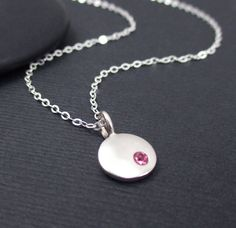 Birthstone Charm Necklace Sterling Silver by themoonflowerstudio