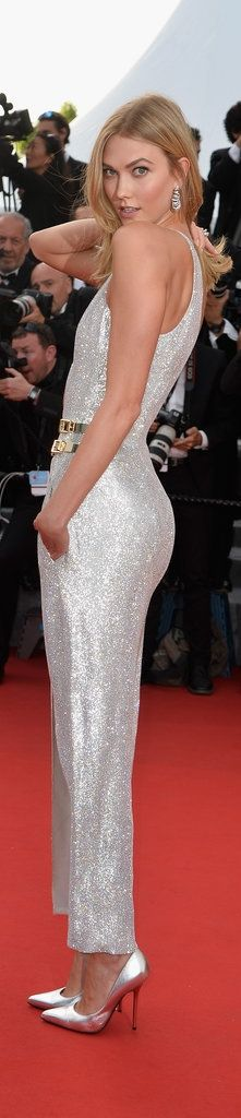 Karlie Kloss's Atelier Versace design was a cross between a jumpsuit and a dress on the Cannes Film Festival red carpet.