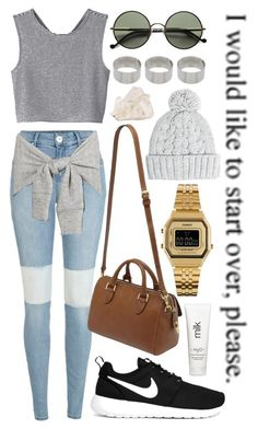 """""""Starting over is never easy"""" by tamara-xox ❤ liked on Polyvore featuring River Island, Monki, Mulberry, Casio, Ralph Lauren, H2O+, ASOS, NIKE and MANGO"""