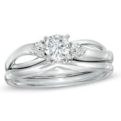 1/2 CT. T.W. Diamond Three Stone Split Shank Bridal Set in 14K White Gold