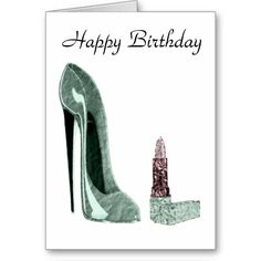 Green Stiletto Shoe and Lipstick Art Greeting Card