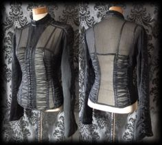 Gothic Black Sheer Ruched SORROW Fitted Corset Panel Top 12 14 Victorian Vintage - £29.00