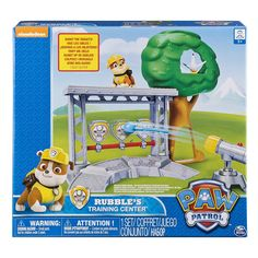 Paw Patrol - Rubble's Training Center. Rubble's Training Center is the ultimate training ground to keep Rubble's ready for any type of rescue!. Rubble is keeping everyone out of trouble practicing his sharp aim with tennis ball target practice!. Help Rubble save Chickaletta!. The Paw Patrol Rubble's Training Center comes with Rubble, x2 tennis ball projectiles and Chickaletta figure!. Rubble's Training Center is for children 3+. No Batteries Required!.