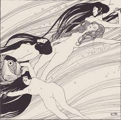 """Gustav Klimt, Fischblut (illustratie uit """"Ver Sacrum"""", deel 3, maart 1898, blz. 6), 1898, 18.5 x 18.5 cm, Österreichische Galerie Belvedere, Wenen"""