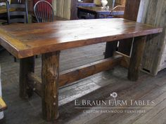 one of a kind counter height reclaimed barn wood farm table with chestnut lg legs - will not be duplicated - We custom make furniture for all rooms of the home using 100+ year old authentic reclaimed barn wood. Showroom location in the heart of PA Amish country - Lancaster County. Intercourse, PA - www.facebook.com/braun.farmtables, www.braunfarmtables.com