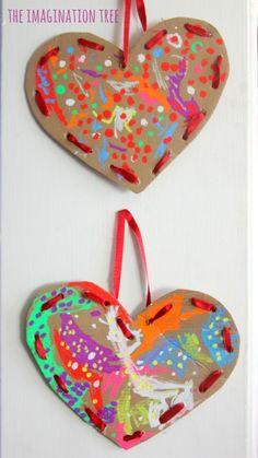 Cardboard lacing hearts valentine's craft