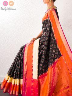 #Black #Handwoven #Katan #Silk #Pochampally #Saree #HolyWeaves