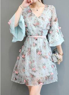 Vestidos Seda Floral Hasta las rodillas Manga de 1094242/1094242 (1094242) @ floryday.com