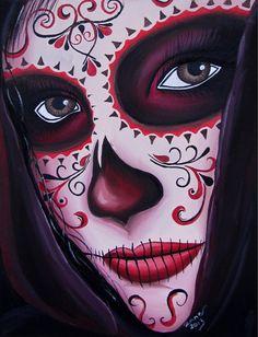 DAY OF the DEAD, sugar skull girl, tattoo original oil painting, via Etsy