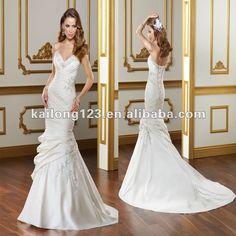 wedding dresses with detatchable trains | Chapel train Detachable Train Ivory Pleated Taffeta Wedding Dresses ...