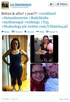 "Liz Stephenson (twitter.com/stephensonliz88) tweeted: "" Before & after! 1 year!!! #workhard #dietandexercise #BodyMedia #myfitnesspal #withings #T25 #Shakeology pic.twitter.com/UHmGs144fi "" Learn more: http://www.withings.com/en/pulse"