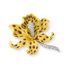 Kenneth Jay Lane Yellow Orchid Brooch Yellow Z080NG