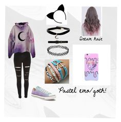 """""""©My pastel emo/goth outfit"""" by death-kitty on Polyvore featuring River Island, Converse, Jewel Exclusive and Lauren Ralph Lauren"""
