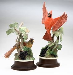 A pair of Boehm porcelain figures of cardinals, Third quarter 20th century, each with black limited edition maker's mark to underside, and also marked ''Boehm / U.S.A.''