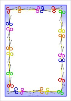 Scissor-themed A4 page borders (SB5997) - SparkleBox