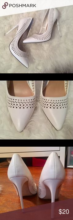 White Perforated Stilettos Never wore, perfect condition white perforated detailed shoes! Size 10 / heel 4 1/2 in JustFab Shoes Heels