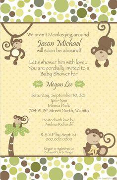 Personalized Jungle Monkey Baby Shower Invitation ❥❥❥ http://bestpickr.com/printable-monkey-baby-shower-invitations