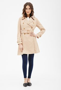 Contemporary Classic Double-Breasted Trench Coat | Forever 21 - 2000081519