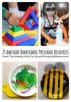 Awesome Homeschool Preschool Resources from The Weekly Kids Co-Op - #kids #homeschooling #preschool at B-InspiredMama.com