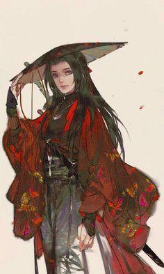 Inspiration Art, Character Design Inspiration, Fantasy Character Design, Character Art, Pretty Art, Cute Art, Female Samurai, Fantasy Samurai, Samurai Artwork